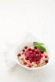 Oatmeal με τη μαρμελάδα των βακκίνιων, φρέσκα τα βακκίνια και Στοκ Εικόνες