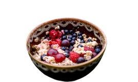 Oatmeal με τους νωπούς καρπούς Στοκ Φωτογραφίες