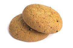 Oatmeal μπισκότα στην άσπρη ανασκόπηση Στοκ Φωτογραφίες