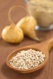 Oatmeal που αναμιγνύεται με τη σκόνη Maca Στοκ Εικόνες