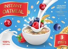 Oatmeal που διαφημίζει με τα δασικά μούρα και το γάλα το ράντισμα ρεαλιστικό Η βρώμη ξεφλουδίζει την απεικόνιση Στοκ εικόνες με δικαίωμα ελεύθερης χρήσης
