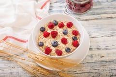 Oatmeal που διακοσμείται με τα φρέσκα μούρα Στοκ φωτογραφίες με δικαίωμα ελεύθερης χρήσης