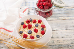 Oatmeal που διακοσμείται με τα φρέσκα μούρα Στοκ Εικόνες