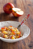 Oatmeal. With caramelized apples, selective focus Royalty Free Stock Image
