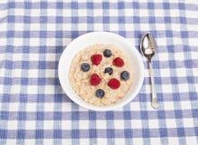 Oatmeal με τα σμέουρα και τα βακκίνια Στοκ φωτογραφία με δικαίωμα ελεύθερης χρήσης