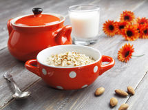 Oatmeal with almonds Royalty Free Stock Photos