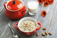 Oatmeal with almonds Royalty Free Stock Photo