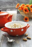 Oatmeal with almonds Stock Images