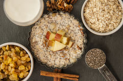 Oatmeal with apple, honey and cinnamon Royalty Free Stock Photography