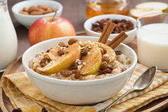 Oatmeal with apples, raisins, cinnamon and ingredients Royalty Free Stock Photos