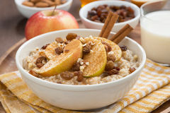 Oatmeal with apples, raisins, cinnamon and ingredients, close-up Stock Images
