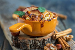 Oatmeal baked apple for a healthy breakfast. Royalty Free Stock Image