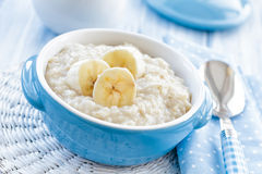 Oatmeal with banana Stock Photos