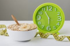 Oatmeal with banana. diet concept Stock Image
