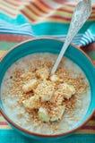 Oatmeal with banana and flax. Oatmeal porridge with banana and flax Stock Image