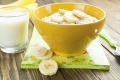 Oatmeal with bananas Royalty Free Stock Photography