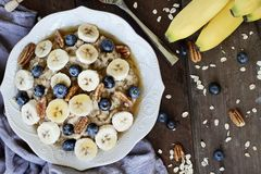 Oatmeal Bananas and Blueberries stock photo