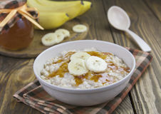 Oatmeal with bananas Stock Photo