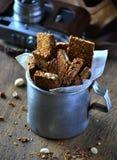 Oatmeal bars with hazelnuts, peanuts and sesame seeds stock photo