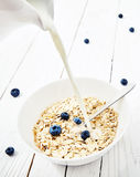 Oatmeal with berries and blueberries smoothie Stock Images