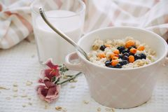 Oatmeal with berries and a glass of milk. stock images