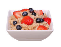 Oatmeal with berries isolated Royalty Free Stock Images
