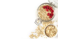 Oatmeal with berries in a jar Royalty Free Stock Images