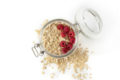 Oatmeal with berries in a jar Stock Photos