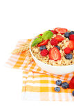 Oatmeal with berries on white background Stock Image
