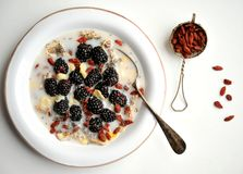 Oatmeal with blackberries and goji seeds on a white table Royalty Free Stock Photos