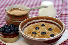 Oatmeal and Blueberries Stock Photos