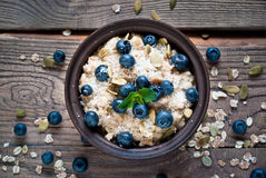 Oatmeal with blueberries Stock Image