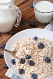 Oatmeal with blueberries and milk vertical view from above Stock Images