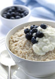 Oatmeal with Blueberries and Yoghurt stock photos