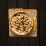 Oatmeal Breakfast Cereal with Blueberries and Milk Stock Photos