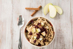 Oatmeal Breakfast Cereal With Fruit and Cinnamon Royalty Free Stock Photos
