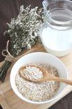 Oatmeal breakfast with milk jug Stock Image