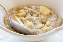 Oatmeal breakfast in modern white bowl Stock Photography