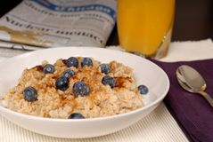 Oatmeal with brown sugar and blueberries Royalty Free Stock Photo