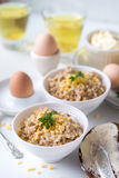 Oatmeal with butter and cheese Royalty Free Stock Photos