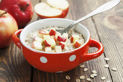 Oatmeal with caramelized apples Stock Photography