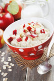 Oatmeal with caramelized apples Stock Photo
