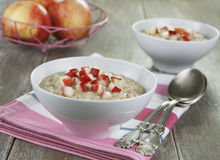 Oatmeal with caramelized apples Stock Images