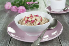 Oatmeal with caramelized apples Stock Photos