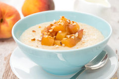 Oatmeal with caramelized peaches in a bowl and jug of yogurt stock photography