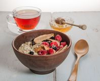 oatmeal in ceramic bowl stock image