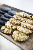 Oatmeal and chocolate biscuits Stock Photo
