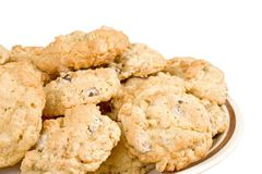 Oatmeal Chocolate Chip Cookie Isolated royalty free stock images