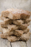 Oatmeal cinnamon cake on timber board Royalty Free Stock Photography