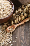 Oatmeal in a clay bowl, stalks of oats on the background of wood Royalty Free Stock Photos